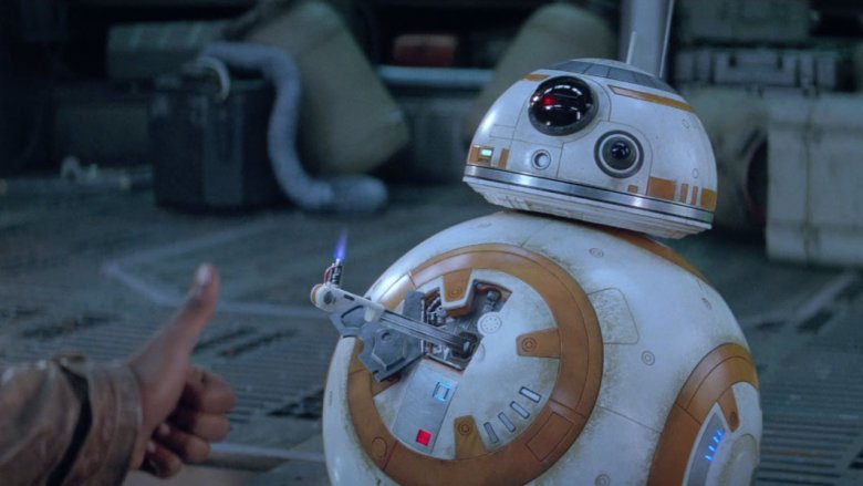 BB-8 flips a thumbs up (not the bird)