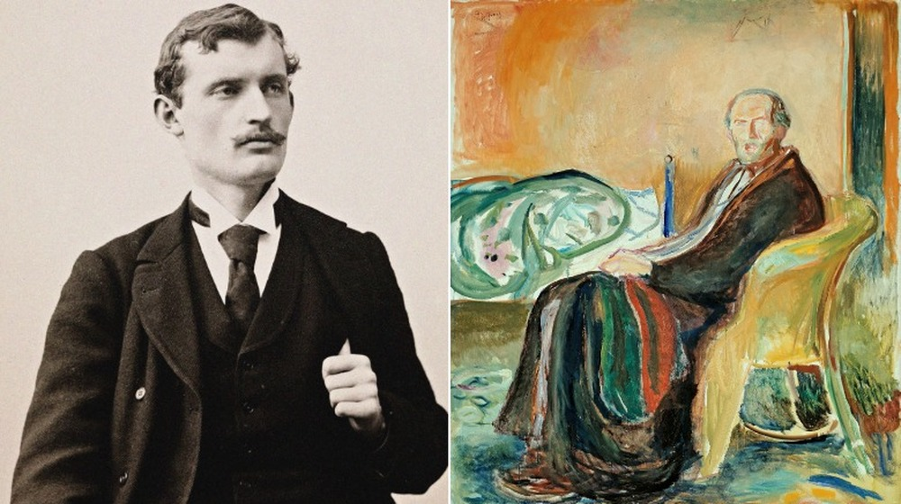 edvard munch self-portrait next to his painting of spanish flu