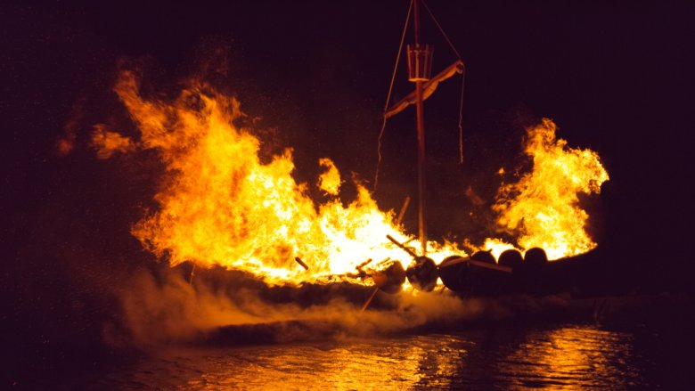 Viking ship on fire
