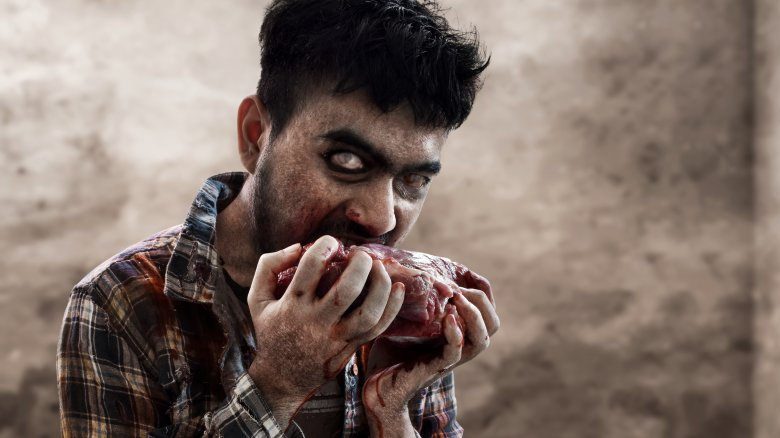 Zombie eating meat