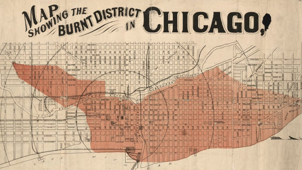 Map showing burn area of Chicago