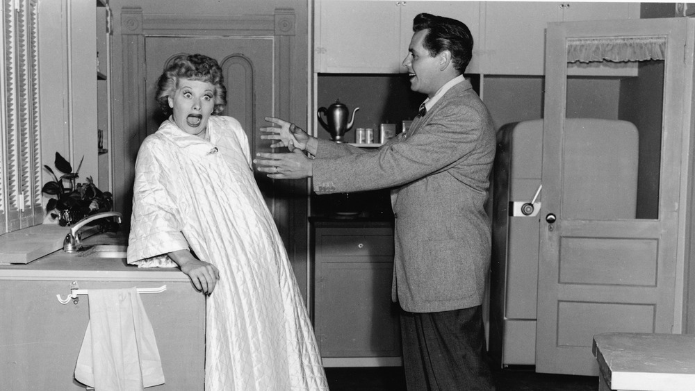 Lucille Ball reacts to Desi Arnaz in a still from the show