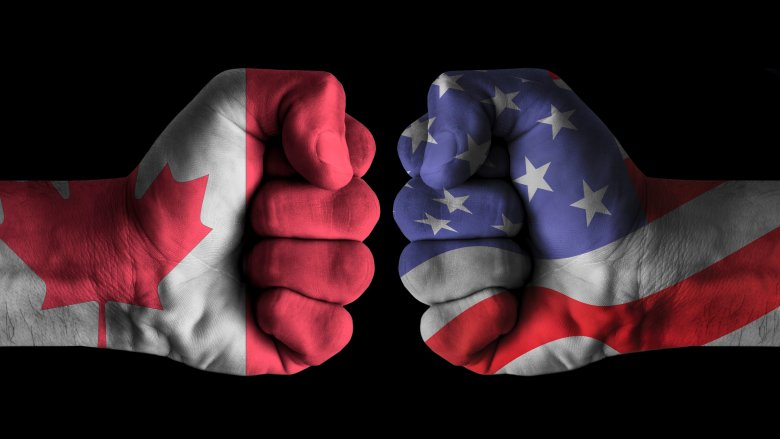 Canadian and American fists