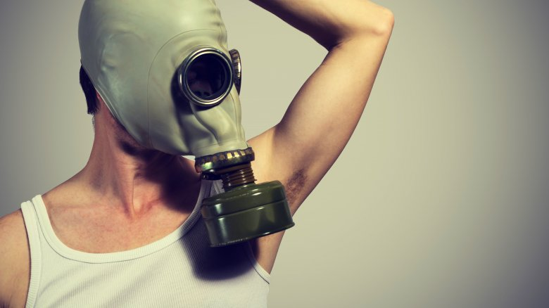 gas mask armpit bacteria germs odor