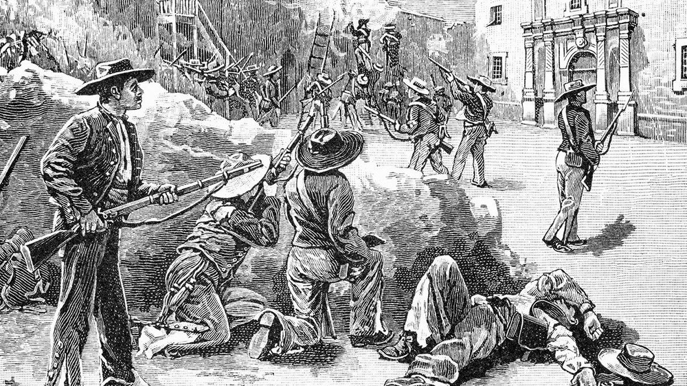 Illustration of Mexican troops approaching the walls of The Alamo
